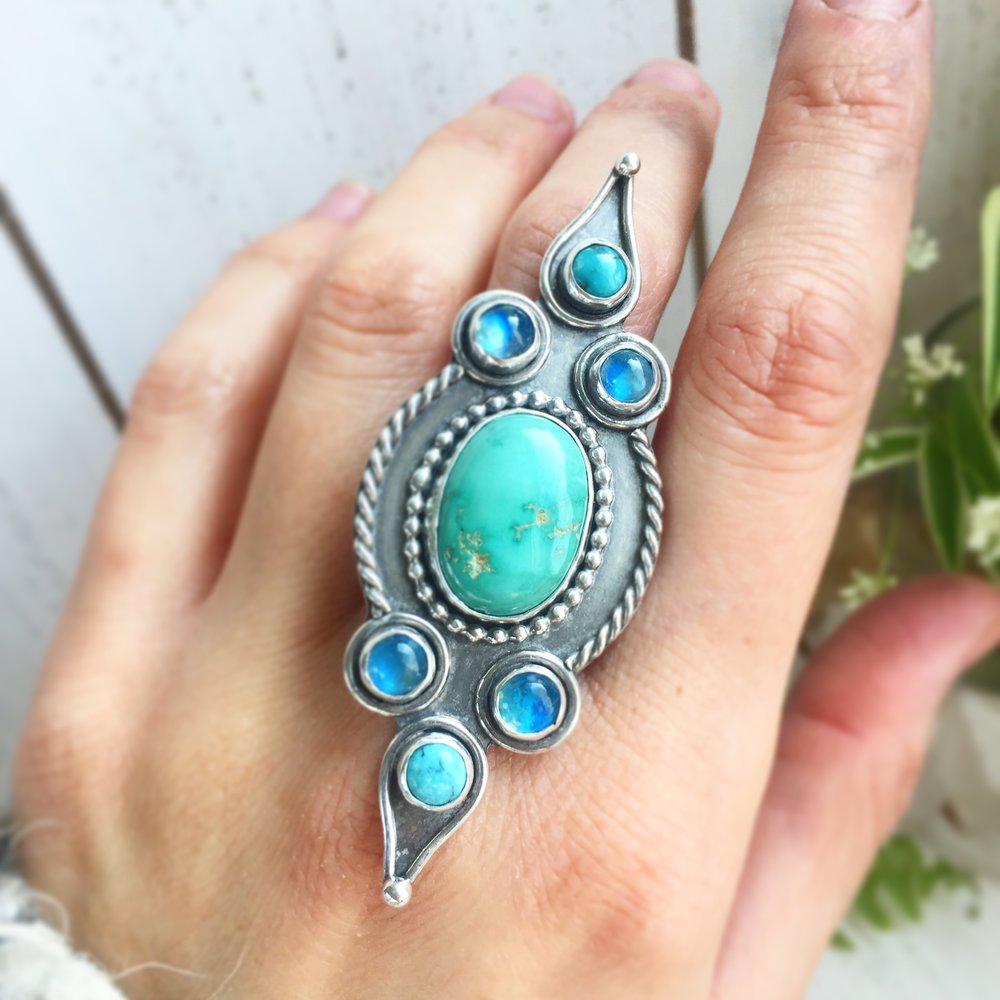 Exotic turquoise and moonstone sterling silver ring