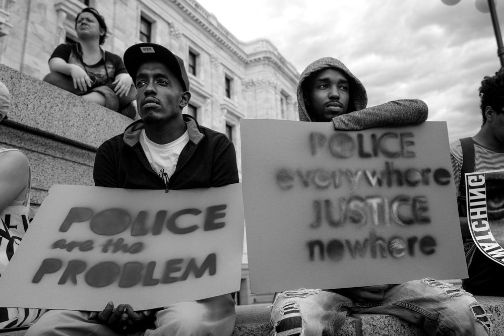 A rally at the State Capitol in St. Paul, MN after officer Jeronimo Yanez was found not guilty in the killing of #PhilandoCastile on July 6, 2016. 📸: Lorie Shaull