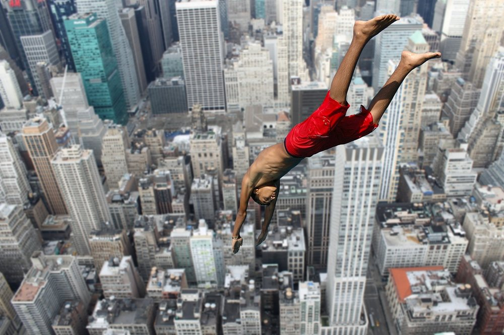 day 13 a man jumps from the 40th story of a building as he s