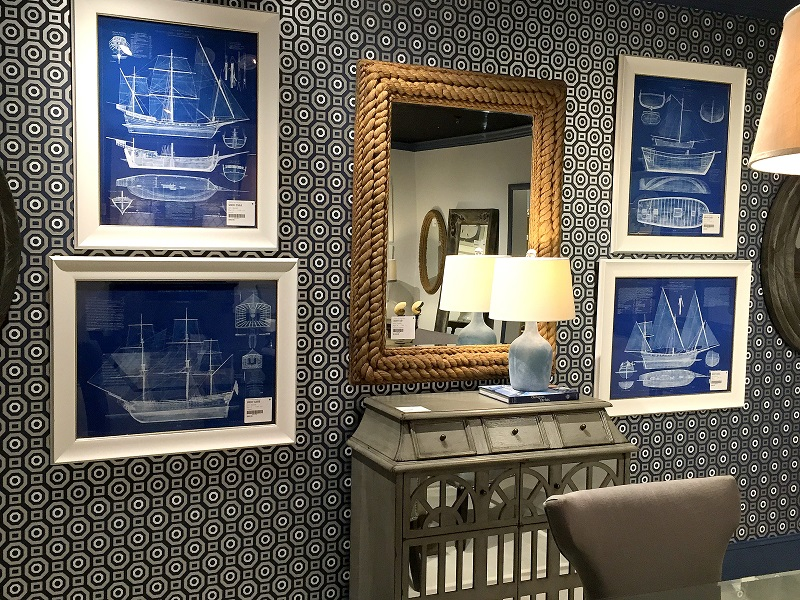 bassett mirror company, blue wall covering, blue accents, mirrors, nautical prints, mirrored furniture