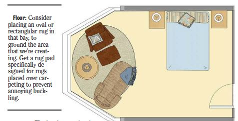 bedroom floor plan, furnishing a bay window