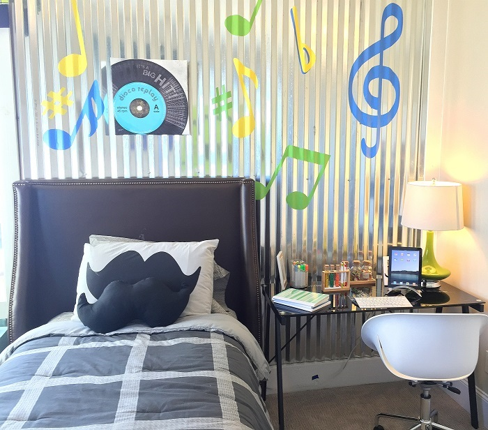 boys bedrooms, rooms for teens, music themed room, upholstered headboard, chapel hill interior design,