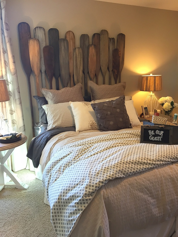diy headboard, oars, rustic accessories, raleigh interior design, design consultations, interior design advice