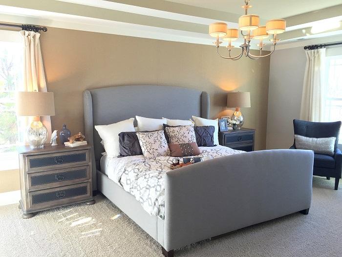 modern master bedroom, baby boomer headboard