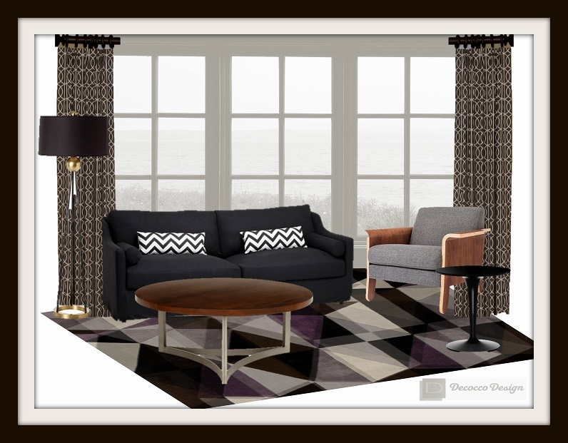 black and white rooms, black sofa, gray chair, modern spaces, gray rugs, large window, interior design durham nc