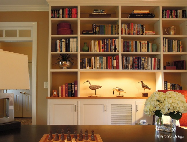 how to arrange your bookshelf, interior design, Raleigh interior designer