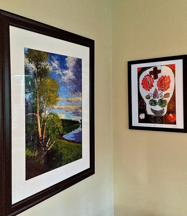 Gary Bowling Studio, school art, Living Room, affordable decor, framing kids pictures, dias de los muertos
