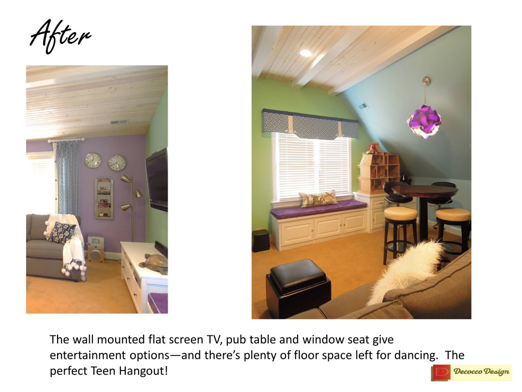 remodeled bonus room for kids, teen rooms, rooms for girls, fun lighting, pub table, window seat, fake ceiling beams, ceiling treatments, wood planks on ceilings, recessed lighting on slanted ceilings