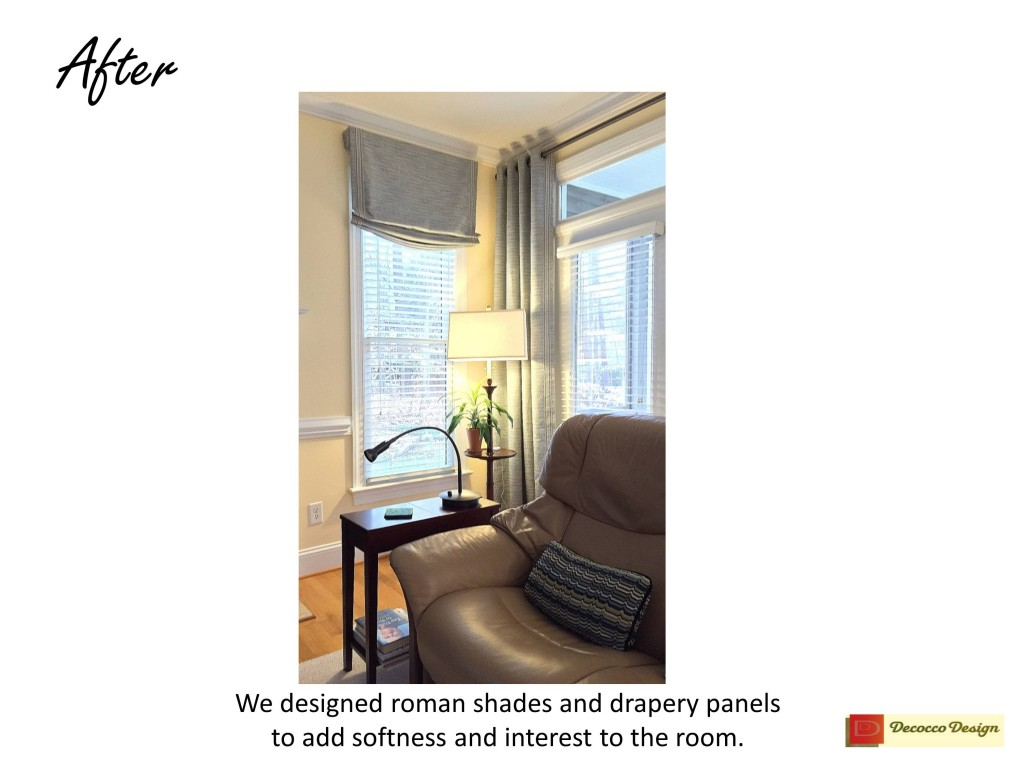 After photo, living room curtains, informal window treatments, interior design consutations