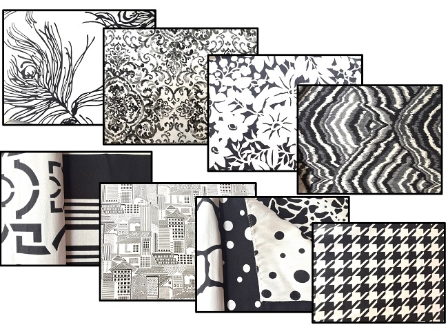 Duralee fabrics, black and white curtains, cotton fabric, design choices for windows