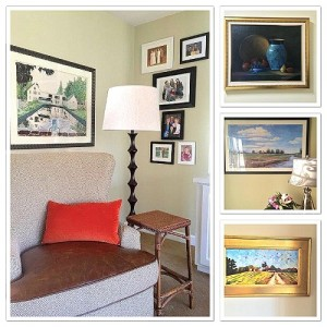 family photos, floor lamp, accent pillow, green wall, end table, wing back chair, leather seating, interior design chapel hill, Houzz