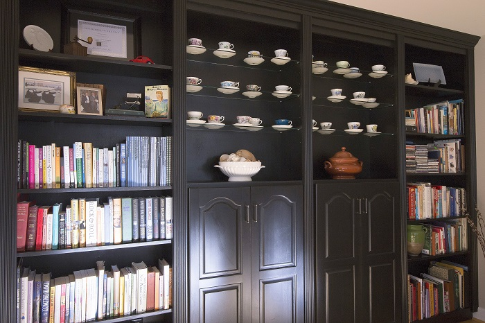 bookcases, custom cabinet, black DR built in storage, interior design raleigh