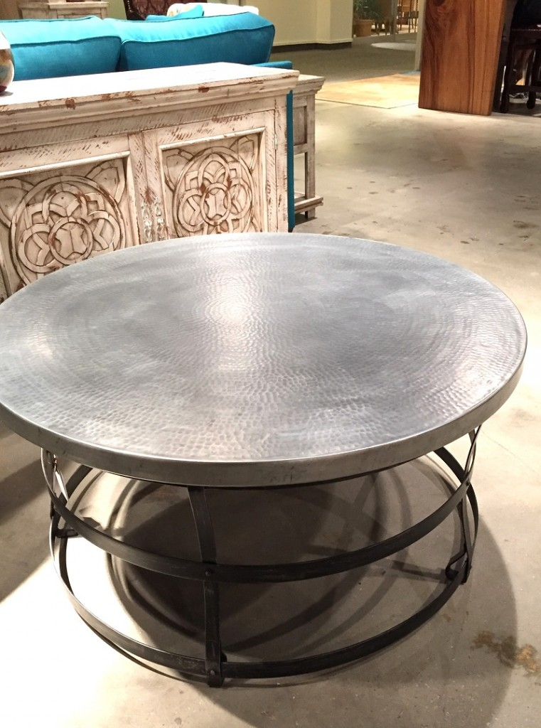 hammered zinc metal coffee table, round coffee table, steel base