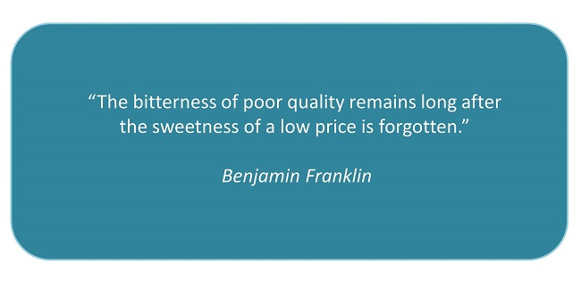 benjamin franklin, quotes, price vs. quality