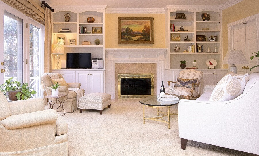 Neutral colors in a Raleigh Family Room.