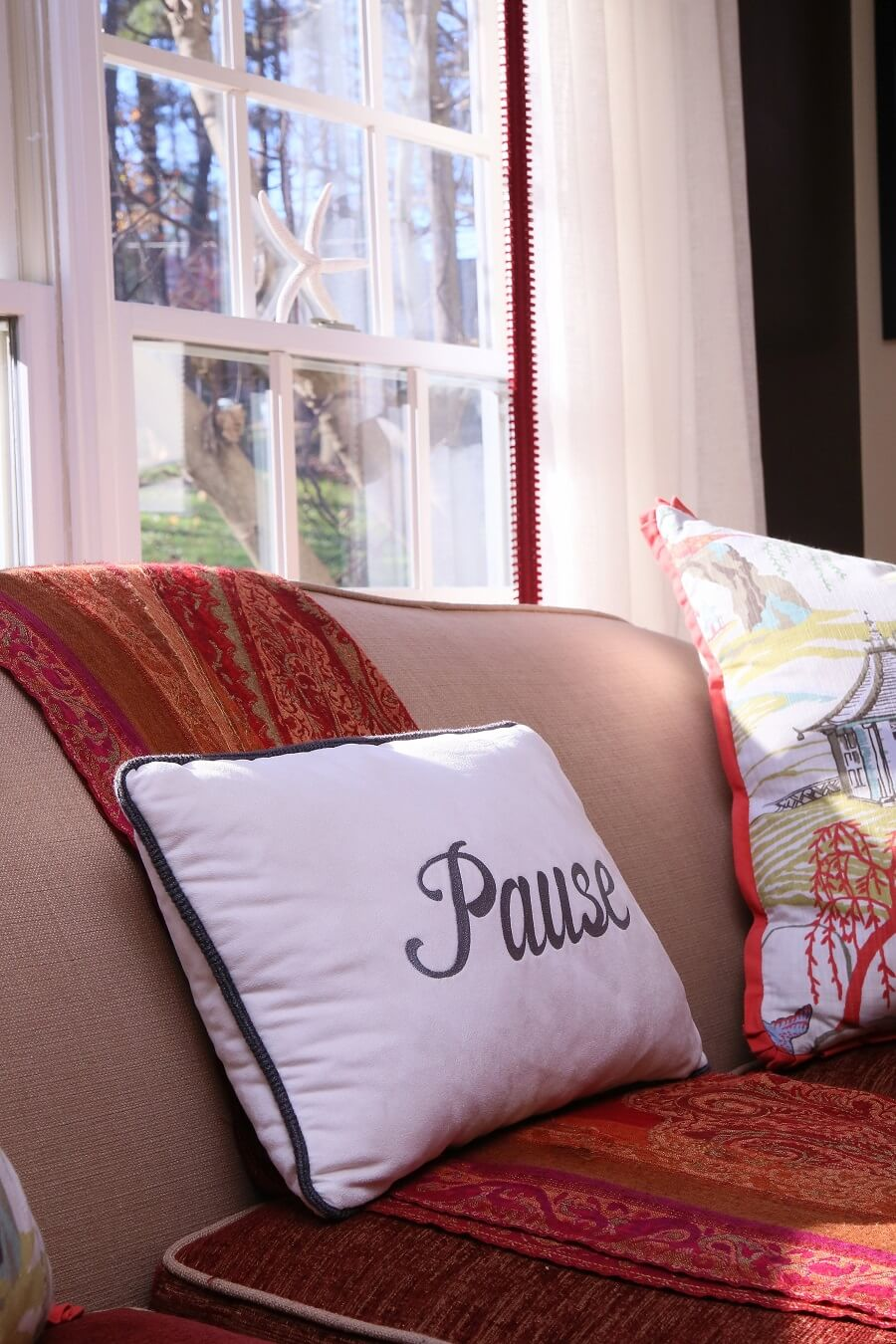 The right word on an accent pillow can remind you about the purpose of a comfortable sofa.