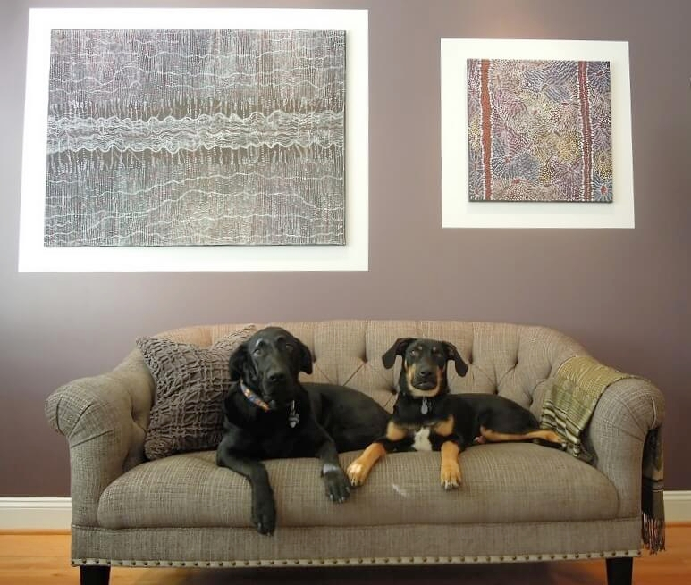 Pet friendly upholstery fabric was used in this Living Room!