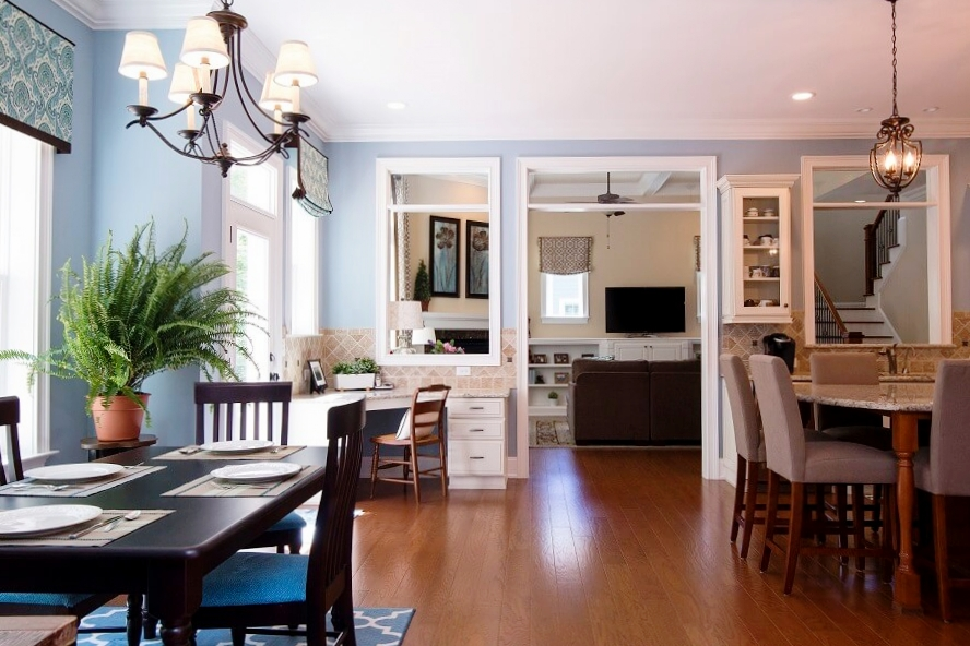 This eat-in Kitchen was updated to reflect the Raleigh homeowners favorite color palette of blue and brown.