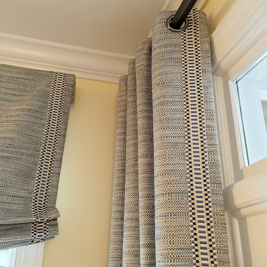 Window treatments can vary in style in the same room. This Chapel Hill Family Room is proof!