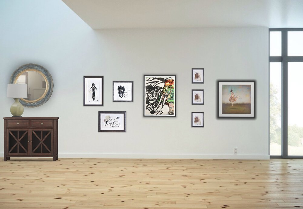 Here's a nice arrangement of art on the wall.