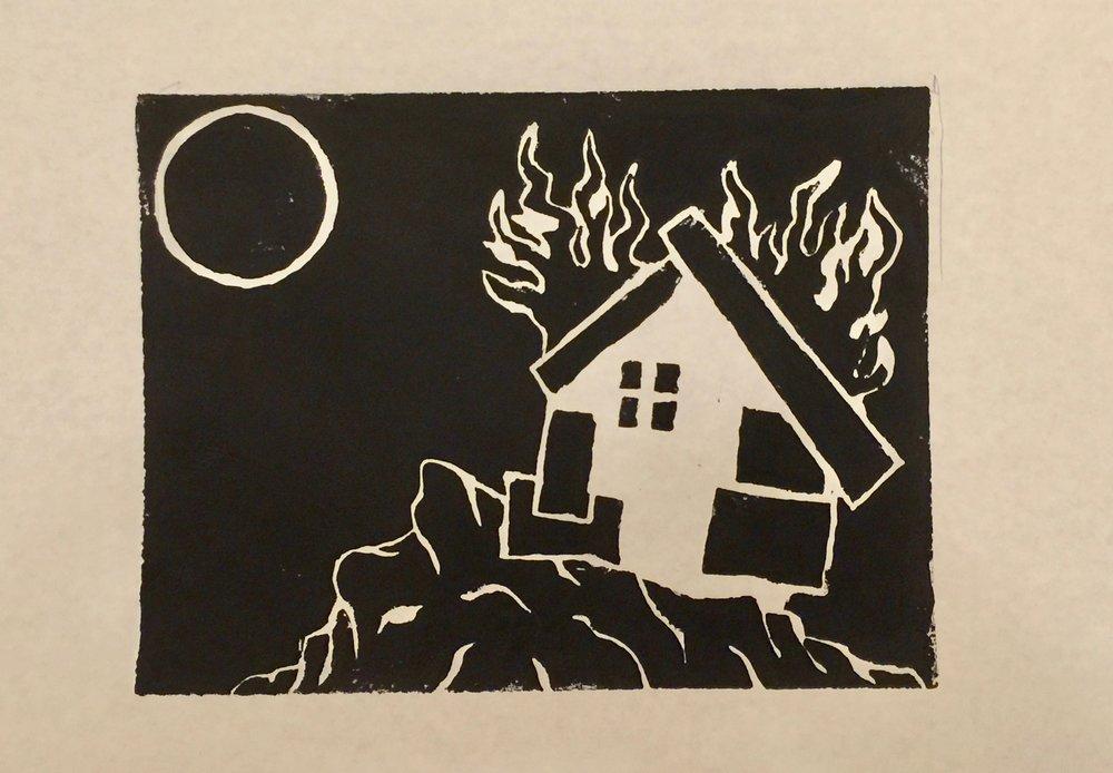 Little White House (Linocut Print)-Black