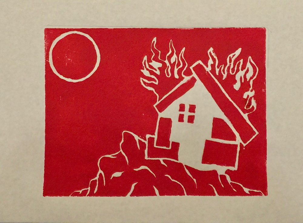 Little White House (Linocut Print)- Red