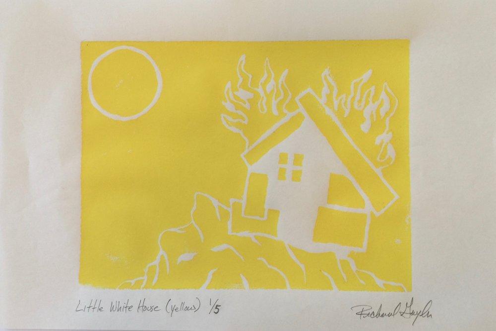Little White House (Linocut Print)- Yellow