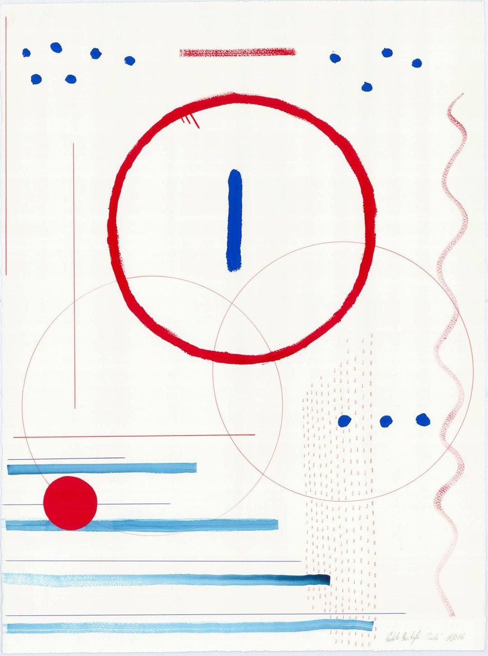 Circle Paper, ink, acrylic paint, pencil 75.5 x 56.5 cm, 2016