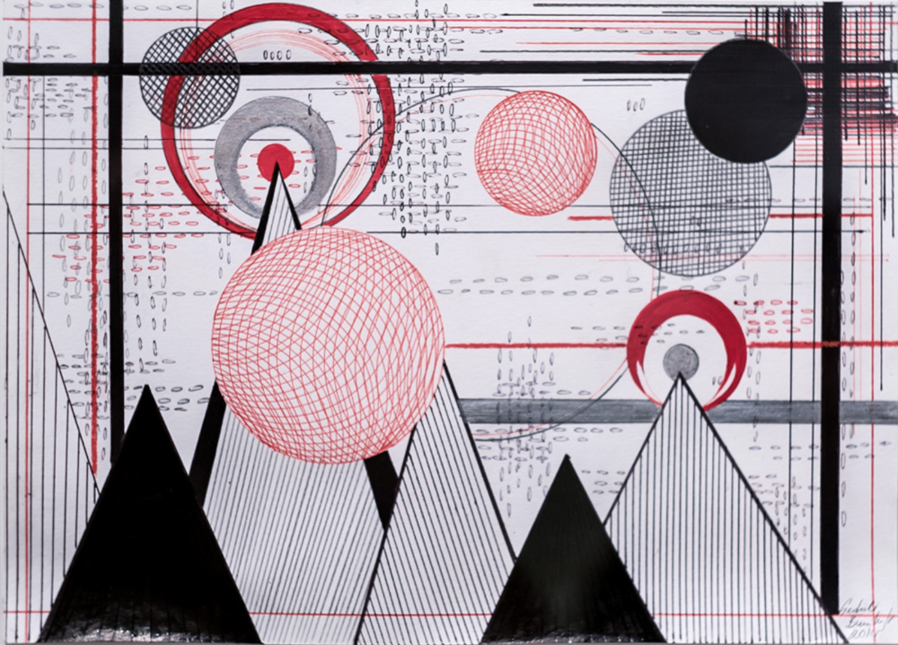 Plants, Mountains and Mystical Planes Paper, ink, acrylic paint, pencil 2014