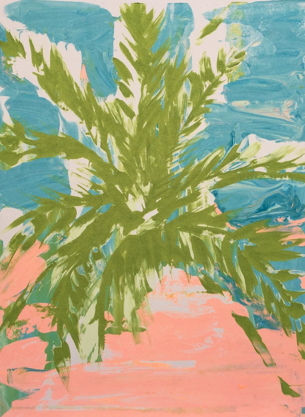 Date Palm , Monoprint by Josephine Hicks