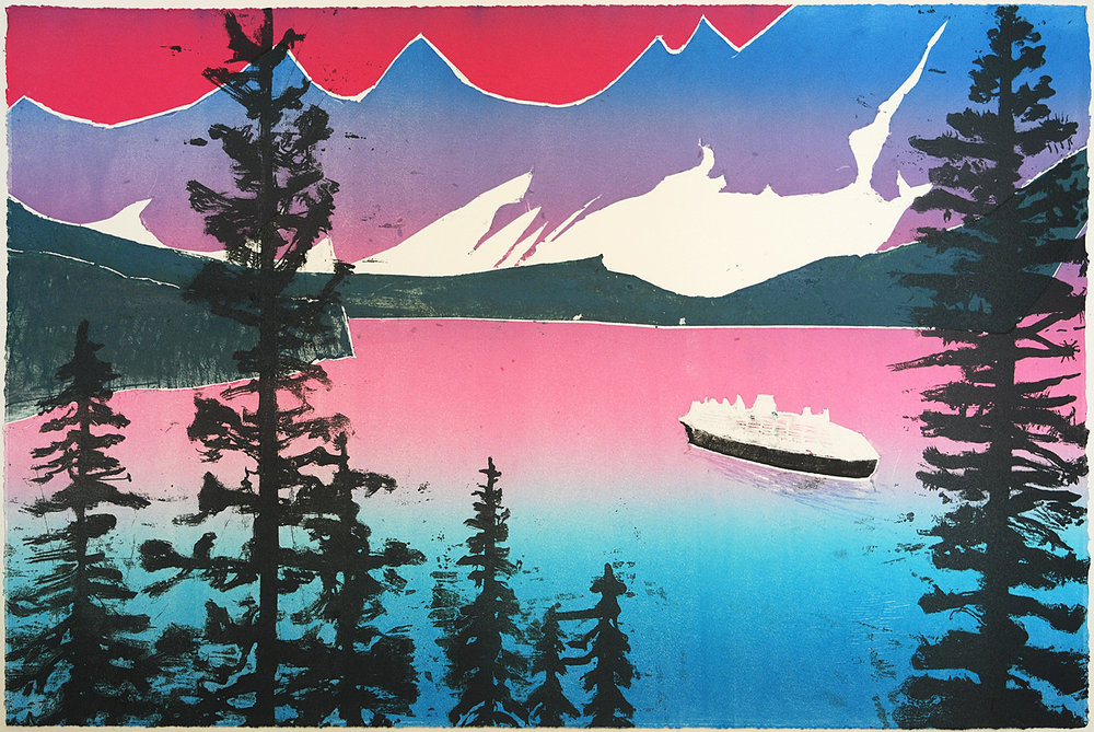Fjord through Pines, Lithograph by Sadie Tierney