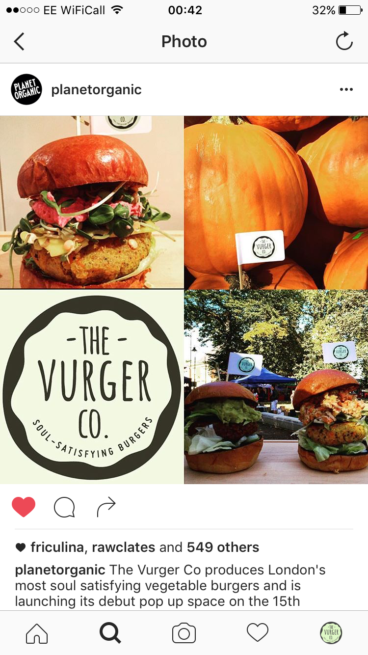 Planet Organic instagram post about The Vurger Co in October 2016