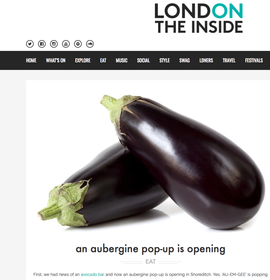 LONDON ON THE INSIDE - AUBERGINE POP UP COVERAGE