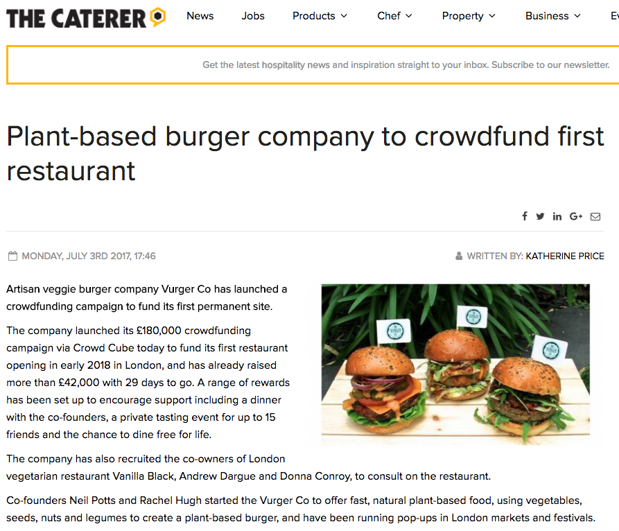 ''Plant based burger company to crowd fund for their first restaurant'' -