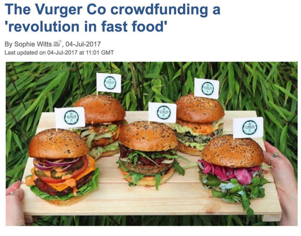 ''The Vurger Co crowdfunding a revolution in fast food'' -