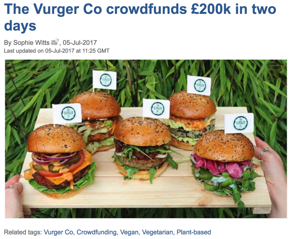 ''The Vurger Co crowdfunds £200k in two days'' -