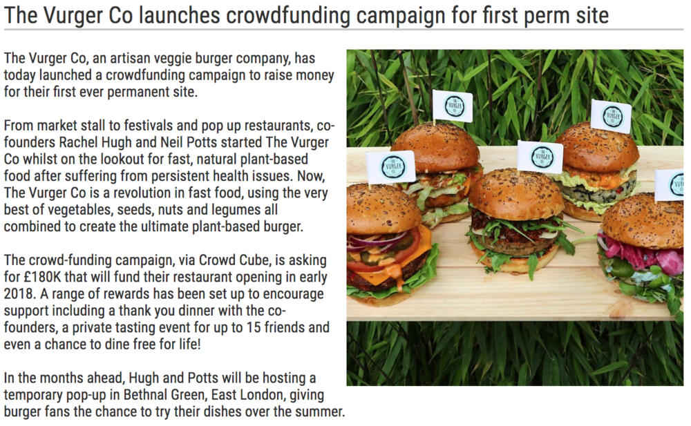 ''The Vurger Co launches crowdfunding'' -