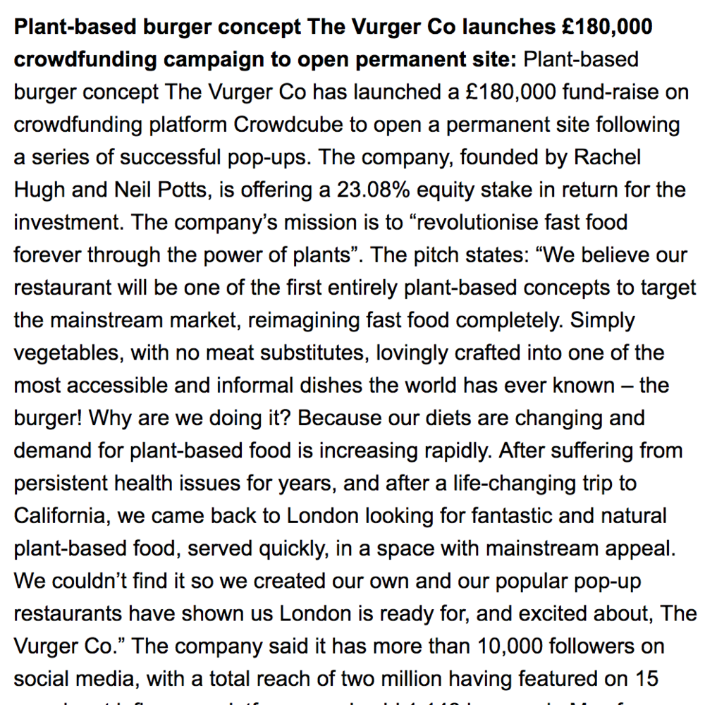 ''The Vurger Co launches crowdfunding campaign'' -