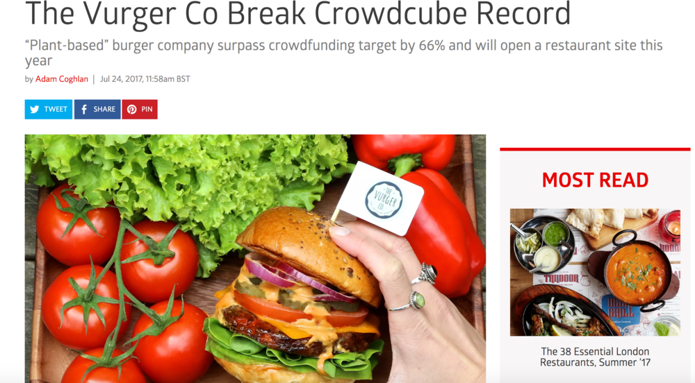London Eater - ''The Vurger Co Break Crowdcube record''