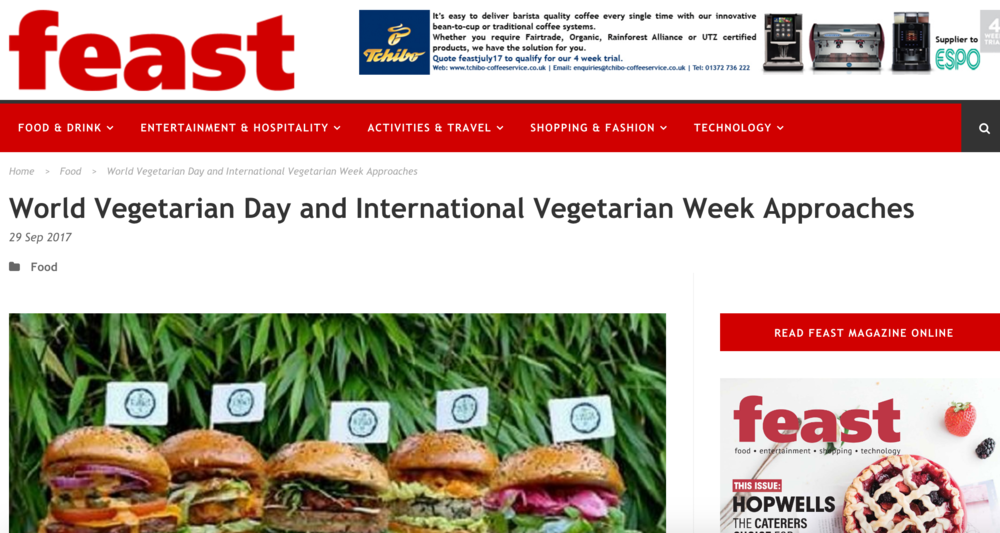 Feast article - Feast magazine covers The Vurger Co in world vegetarian day and International Vegetarian week