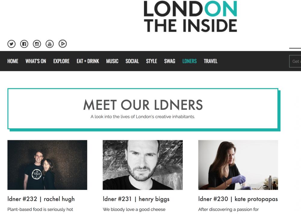 London The Inside - Article on co-founder Rachel Hugh