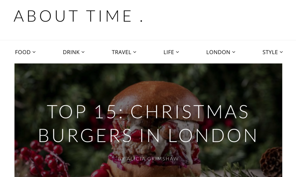 About Time - Top 15 Xmas Burgers - We feature as number 8 - read more here!