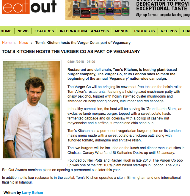 Lovely feature of our Tom's Kitchen collaboration - Eat Out Magazine