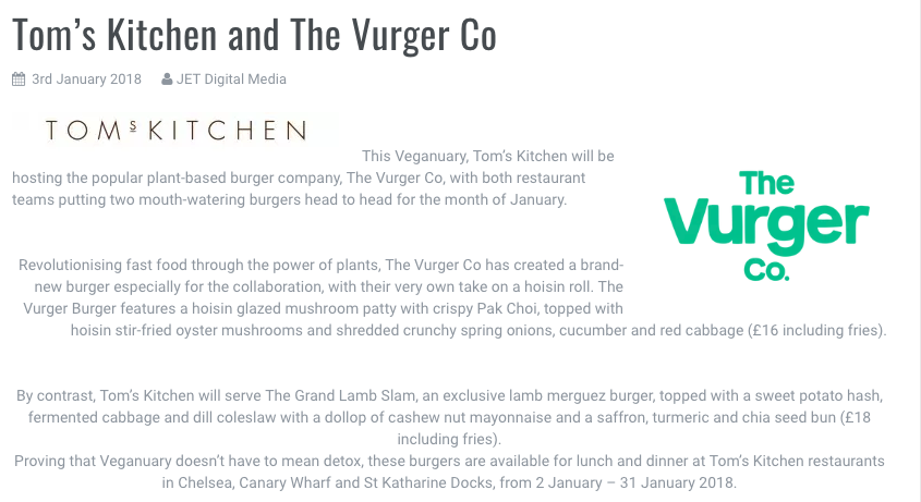Restaurant Update - Feature on our collaboration with Tom's Kitchen