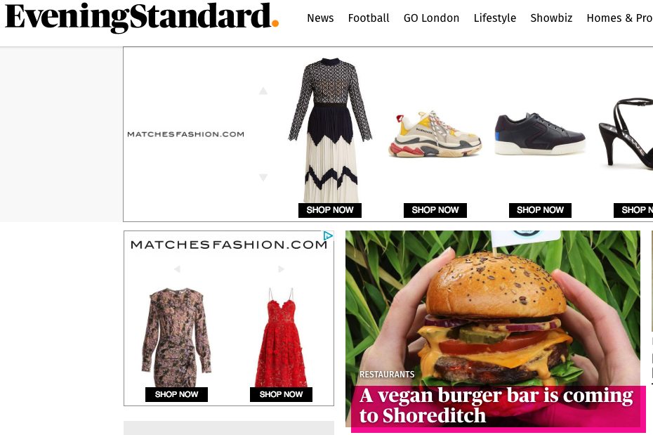 We were featured on The Evening Standard Homepage