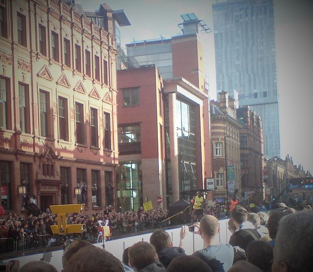 #TBT to 2009 when @usainbolt broke the 150m world best in a staggering 14.35s on a straight track in the centre of Manchester.  This has recently been confirmed as the fastest legal race in history with Bolt averaging 23.38mph for the 150m. It has been estimated that Bolt's maximum power output in the run came after only 0.89s at 2619.5 watts... I captured this photo on an old phone (hence the poor quality) but you can see 80m in, he already has 4-5m on the other athletes (one is Olympic relay gold medalist Marlon Devonish). Bolt covered the 50m -150m section of the track in 8.70 seconds.  The size of an Olympic Rower, Bolt in full flight is something to behold. After his win (by over 1 full second), he jumped the barriers and jogged through the crowd high-fiving the fans.  The Great City Games return to the Deansgate this Friday with live BBC coverage from 1800.  http://greatcitygames.org/news/lightning-bolt-the-fastest-of-all-time  #bolt #greatcitygames #sprinting #manchester #speed #ratherquick