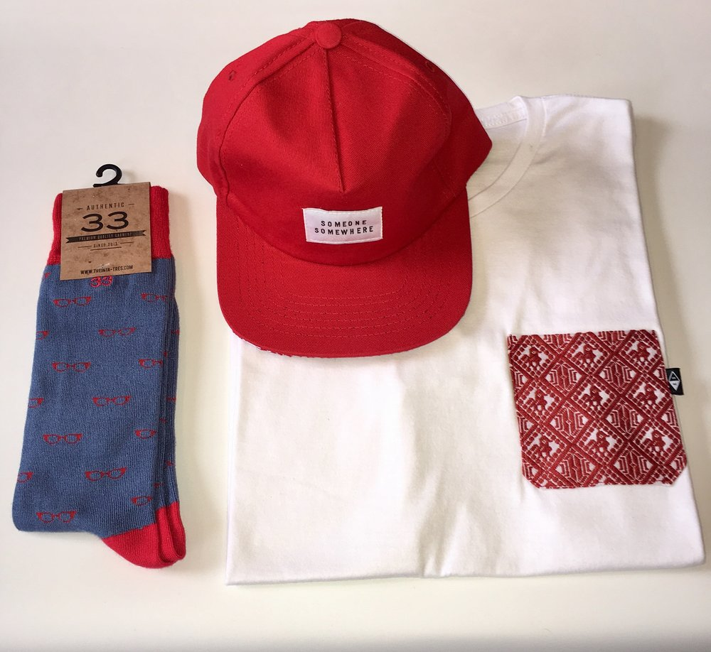 Red selection. (Classic cap + Hugo t-shirt + Icon socks)