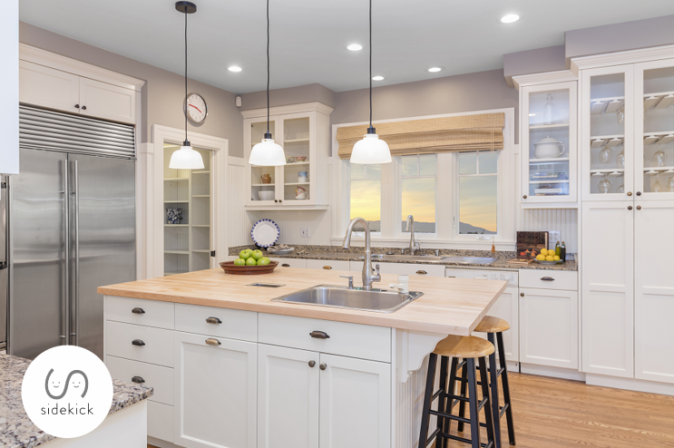 open cabinets with glass doors
