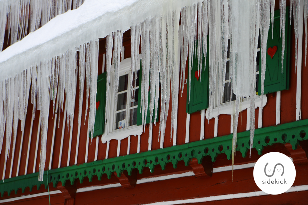 large icicles on a house