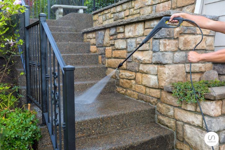 Power washing concrete steps